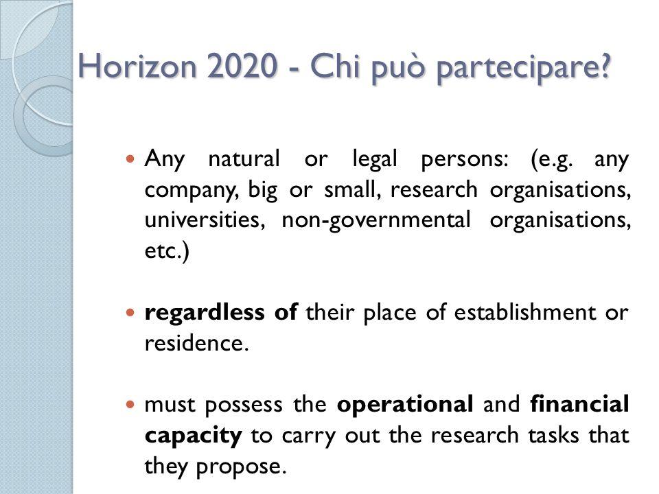 Horizon 2020 - Chi può partecipare