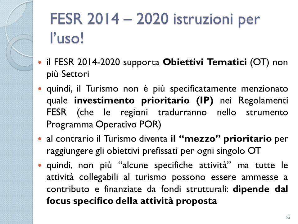 FESR 2014 – 2020 istruzioni per l'uso!