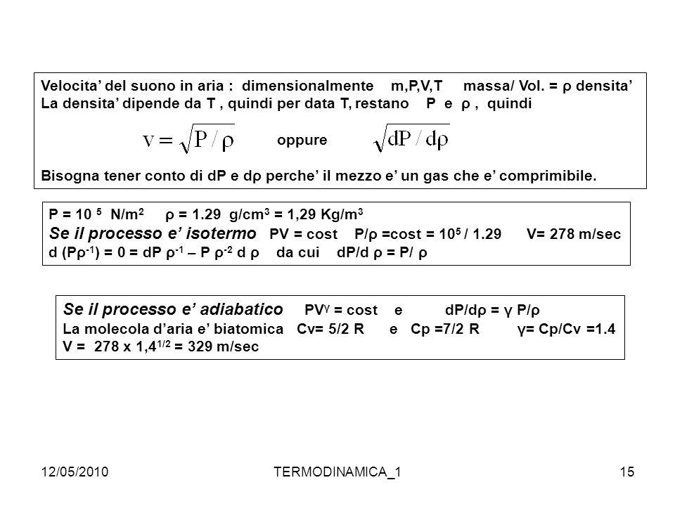Se il processo e' adiabatico PVγ = cost e dP/dρ = γ P/ρ