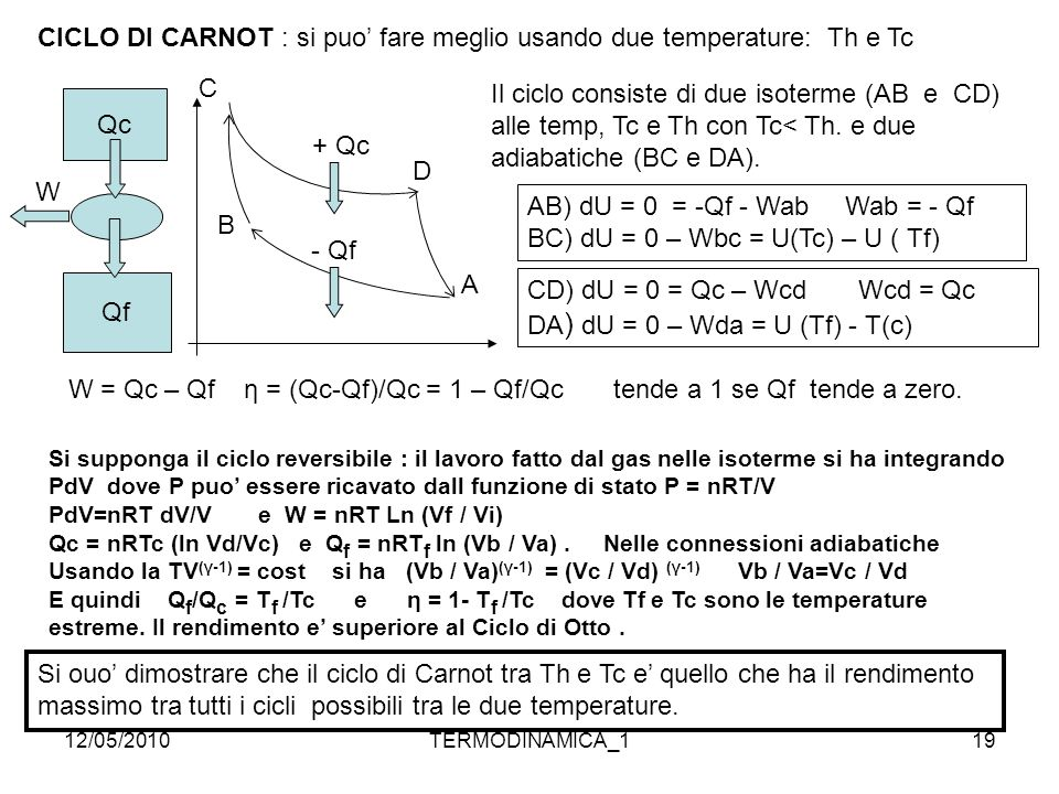 CICLO DI CARNOT : si puo' fare meglio usando due temperature: Th e Tc