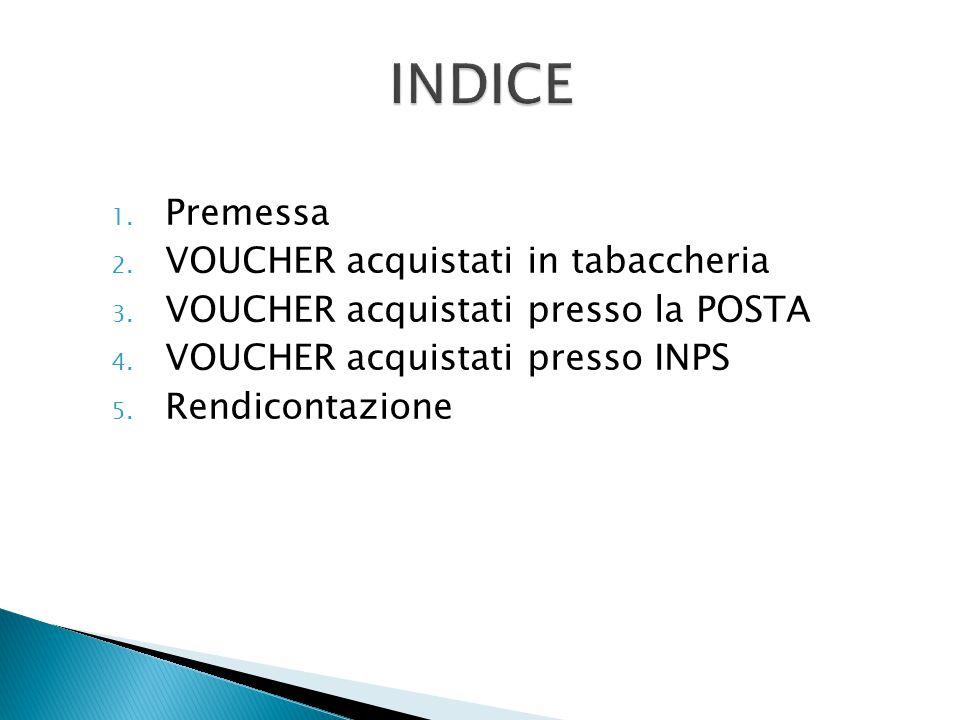 INDICE Premessa VOUCHER acquistati in tabaccheria