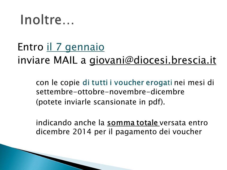 Inoltre… Entro il 7 gennaio inviare MAIL a giovani@diocesi.brescia.it