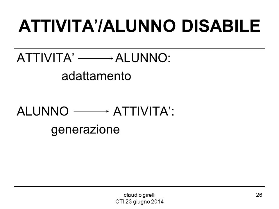 ATTIVITA'/ALUNNO DISABILE