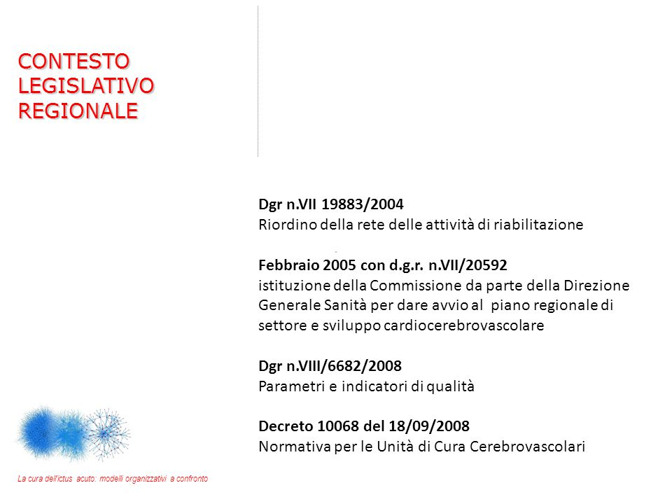 CONTESTO LEGISLATIVO REGIONALE Dgr n.VII 19883/2004