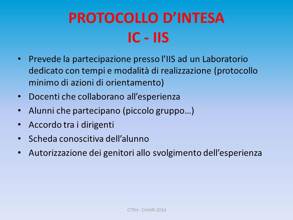 PROTOCOLLO D'INTESA IC - IIS