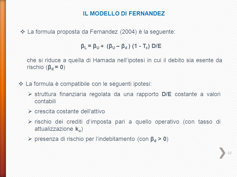 IL MODELLO DI FERNANDEZ βL = βU + (βU – βd ) (1 - Tc) D/E