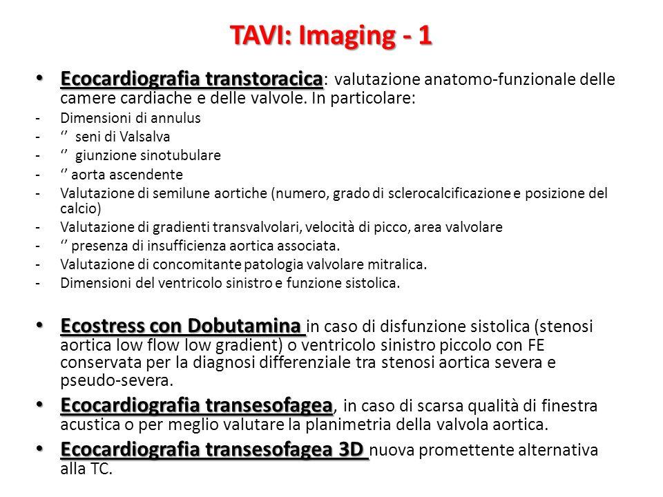 TAVI: Imaging - 1 Ecocardiografia transtoracica: valutazione anatomo-funzionale delle camere cardiache e delle valvole. In particolare: