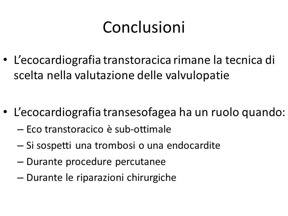 Conclusioni L'ecocardiografia transtoracica rimane la tecnica di scelta nella valutazione delle valvulopatie.