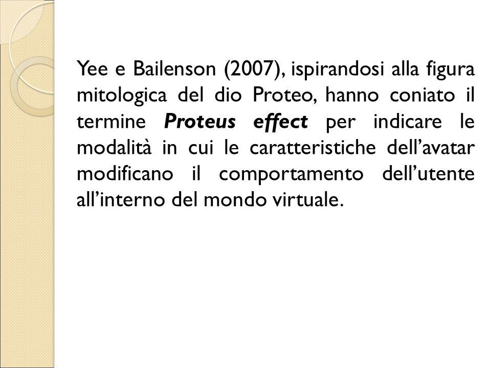 Yee e Bailenson (2007), ispirandosi alla figura mitologica del dio Proteo, hanno coniato il termine Proteus effect per indicare le modalità in cui le caratteristiche dell'avatar modificano il comportamento dell'utente all'interno del mondo virtuale.