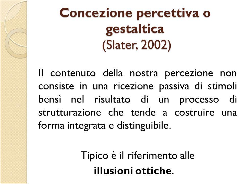 Concezione percettiva o gestaltica (Slater, 2002)