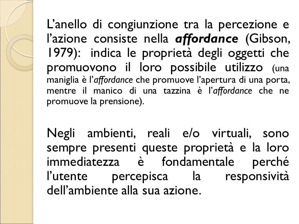 L'anello di congiunzione tra la percezione e l'azione consiste nella affordance (Gibson, 1979): indica le proprietà degli oggetti che promuovono il loro possibile utilizzo (una maniglia è l'affordance che promuove l'apertura di una porta, mentre il manico di una tazzina è l'affordance che ne promuove la prensione).