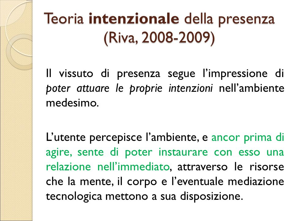 Teoria intenzionale della presenza (Riva, 2008-2009)