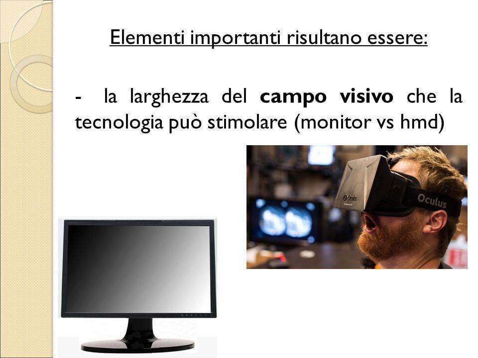 Elementi importanti risultano essere: - la larghezza del campo visivo che la tecnologia può stimolare (monitor vs hmd)