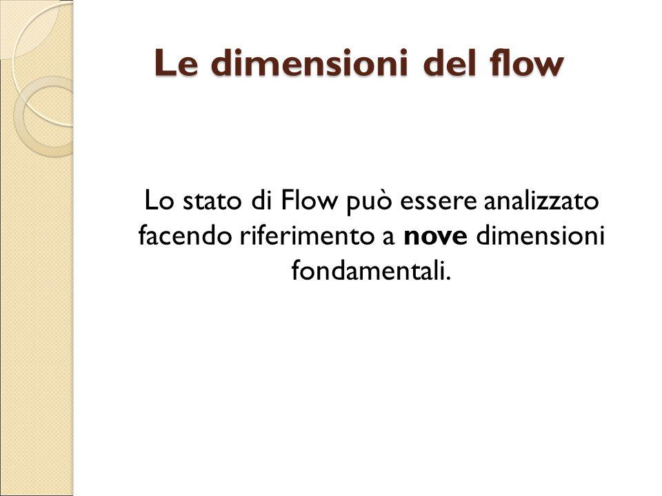 Le dimensioni del flow Lo stato di Flow può essere analizzato facendo riferimento a nove dimensioni fondamentali.