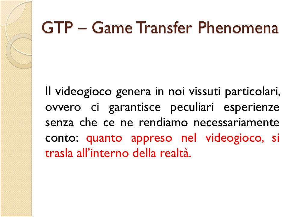 GTP – Game Transfer Phenomena