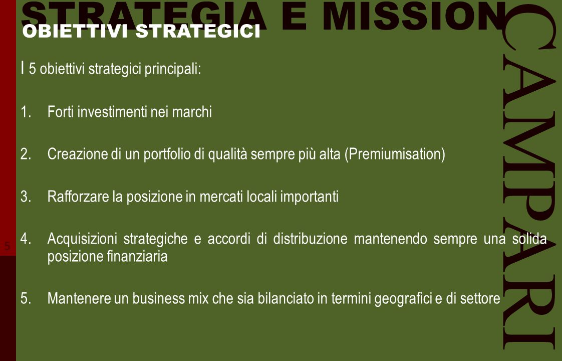 CAMPARI STRATEGIA E MISSION OBIETTIVI STRATEGICI