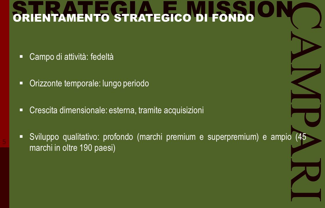 CAMPARI STRATEGIA E MISSION ORIENTAMENTO STRATEGICO DI FONDO