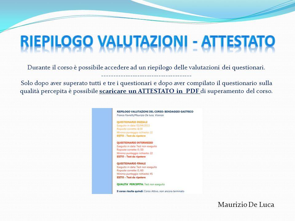 RIEPILOGO VALUTAZIONI - attestato