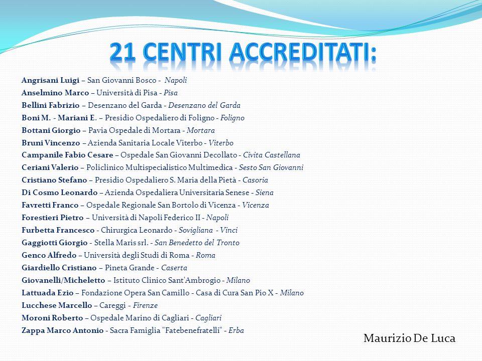 21 Centri Accreditati: Maurizio De Luca