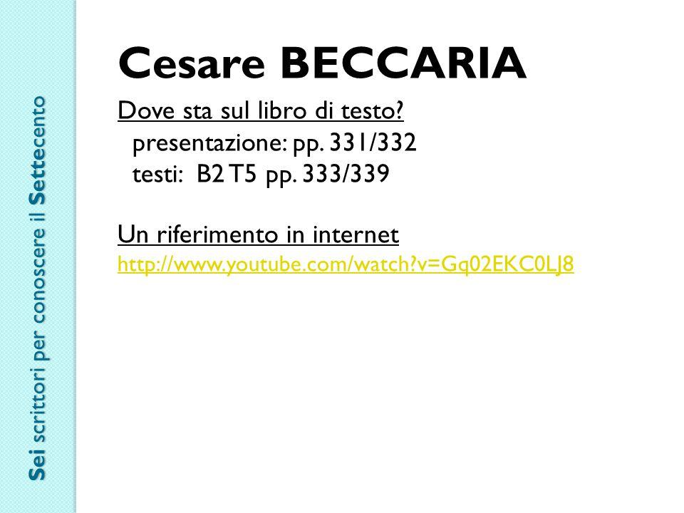 Cesare BECCARIA Dove sta sul libro di testo