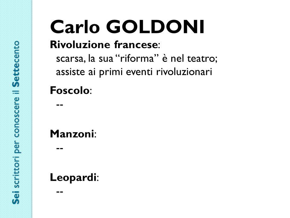 Carlo GOLDONI Rivoluzione francese: