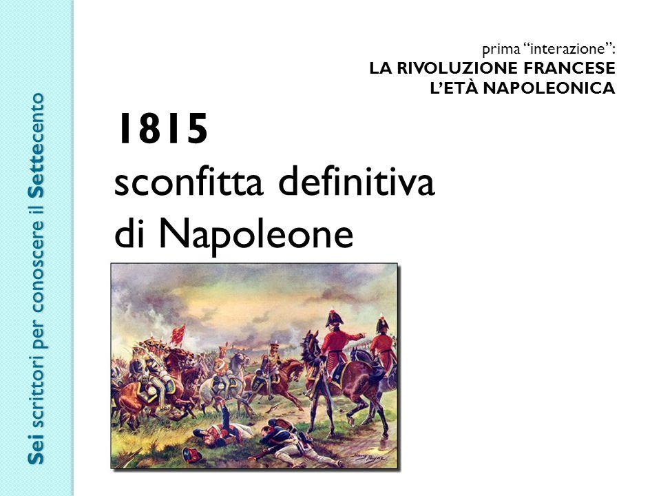 1815 sconfitta definitiva di Napoleone