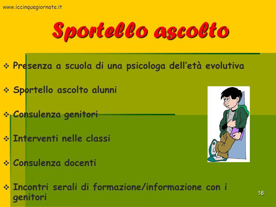 www.iccinquegiornate.it Sportello ascolto. Presenza a scuola di una psicologa dell'età evolutiva. Sportello ascolto alunni.