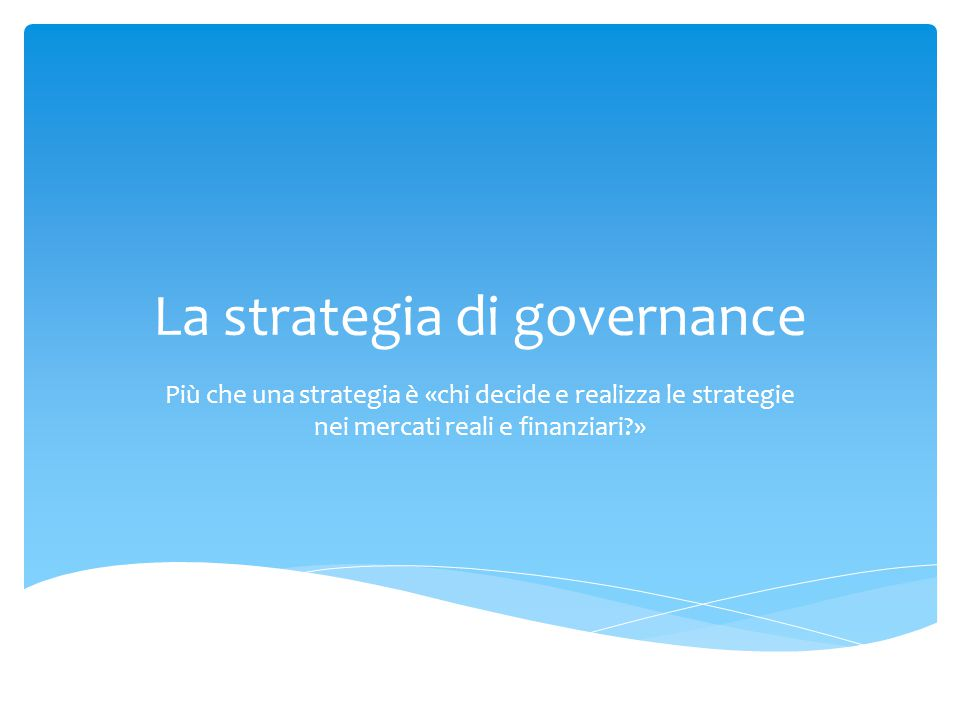La strategia di governance
