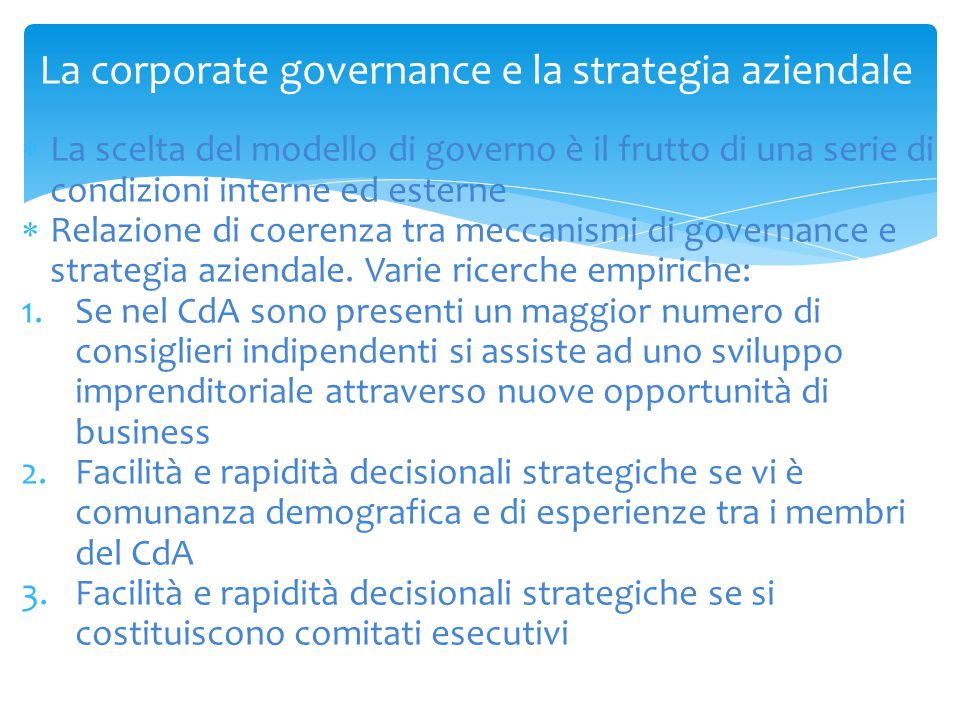 La corporate governance e la strategia aziendale