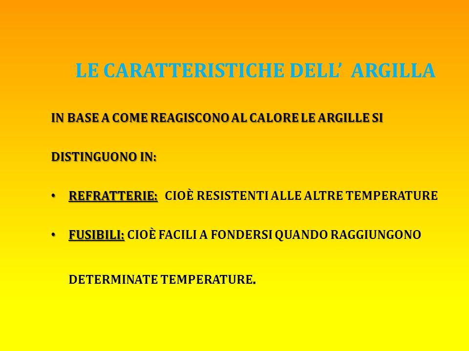LE CARATTERISTICHE DELL' ARGILLA