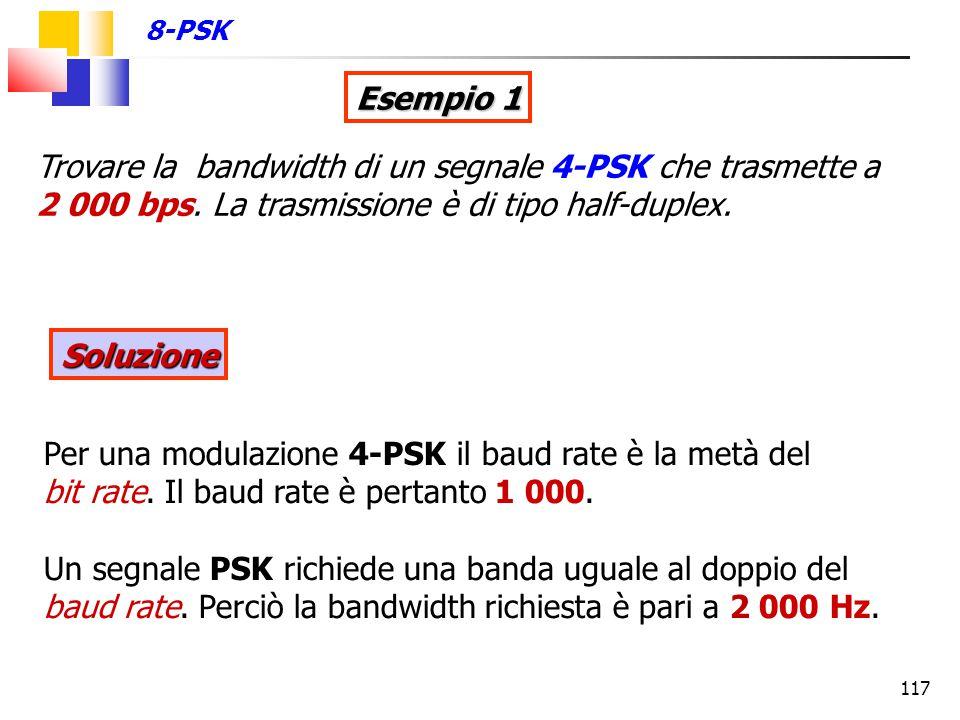 8-PSK Esempio 1. Trovare la bandwidth di un segnale 4-PSK che trasmette a 2 000 bps. La trasmissione è di tipo half-duplex.