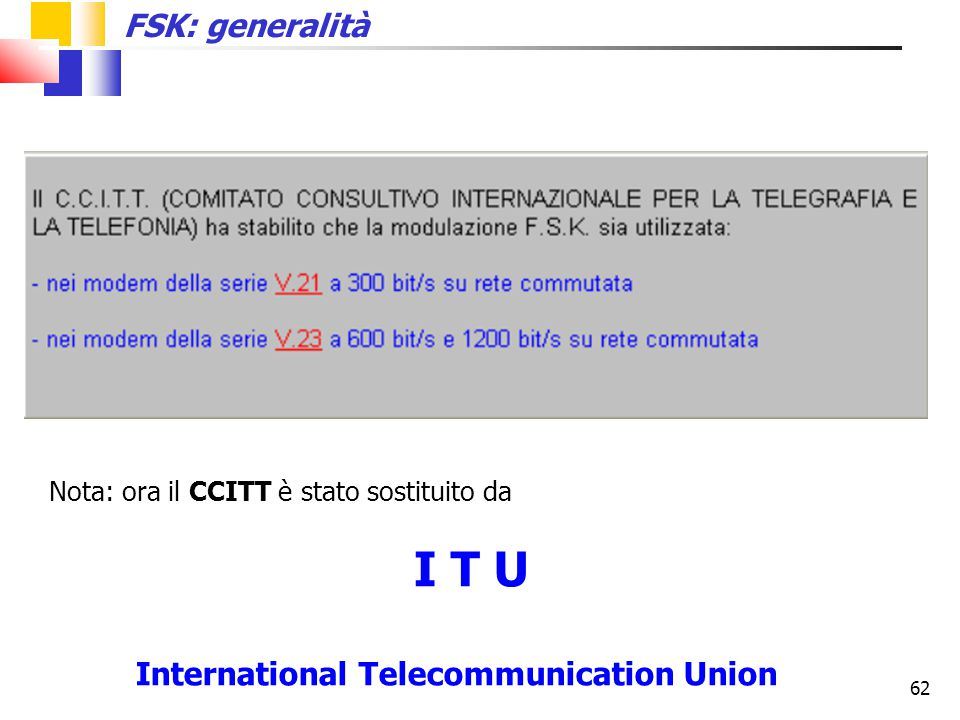 I T U FSK: generalità Nota: ora il CCITT è stato sostituito da