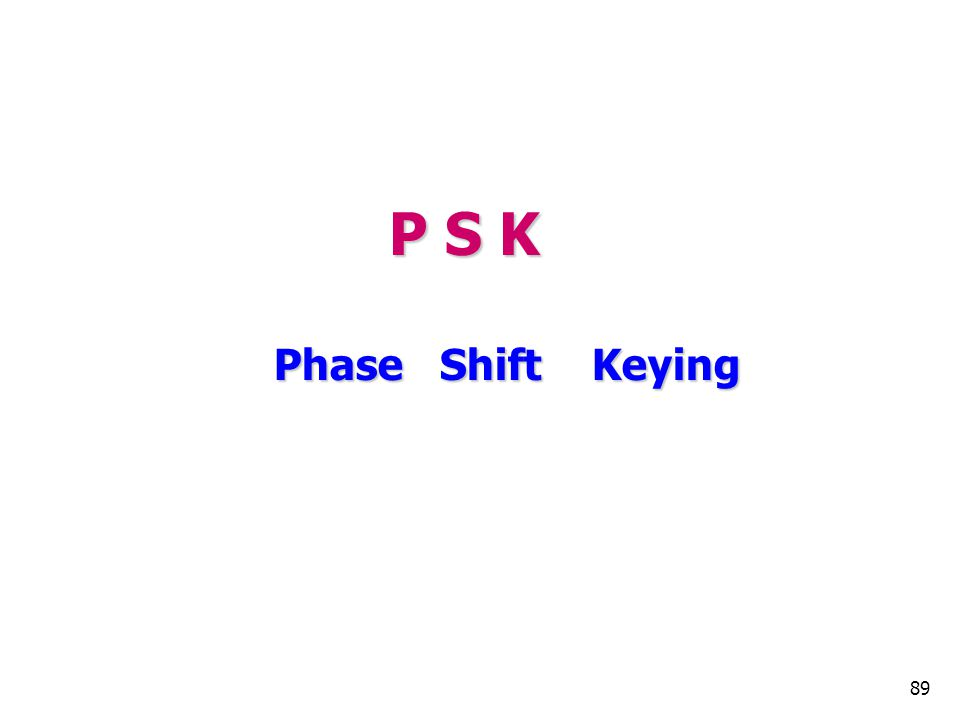 P S K Phase Shift Keying 89 89