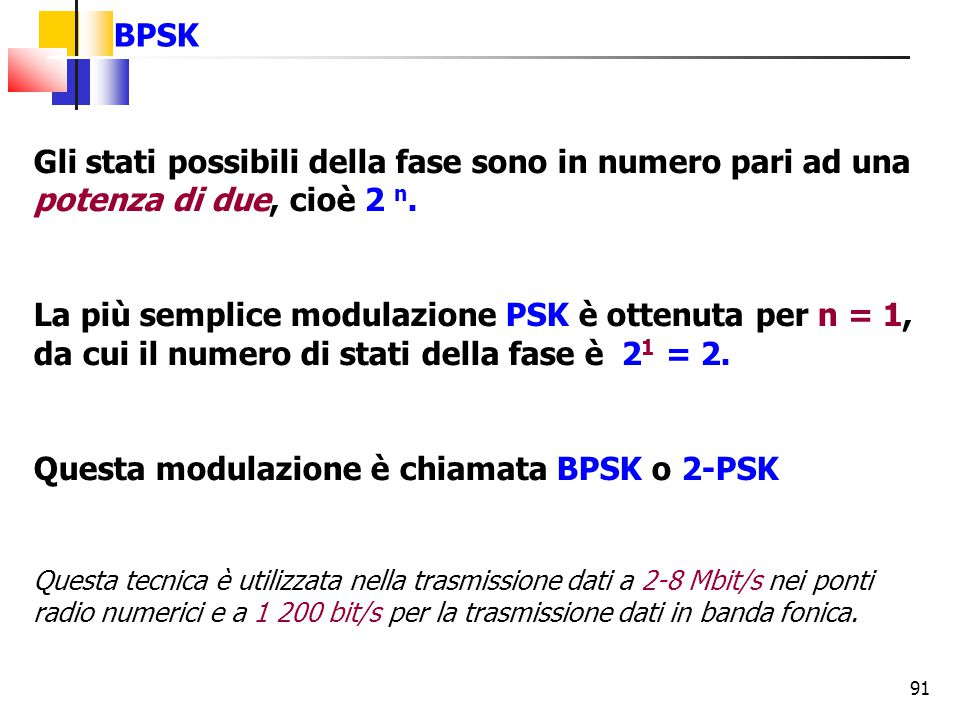 Questa modulazione è chiamata BPSK o 2-PSK