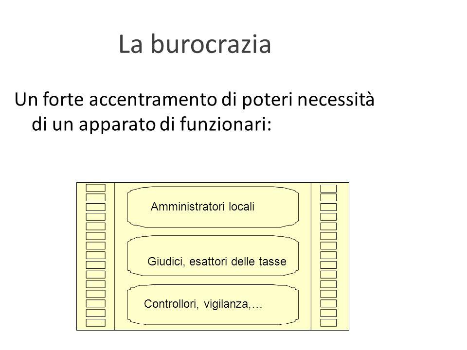 La burocrazia Un forte accentramento di poteri necessità di un apparato di funzionari: Giudici, esattori delle tasse.
