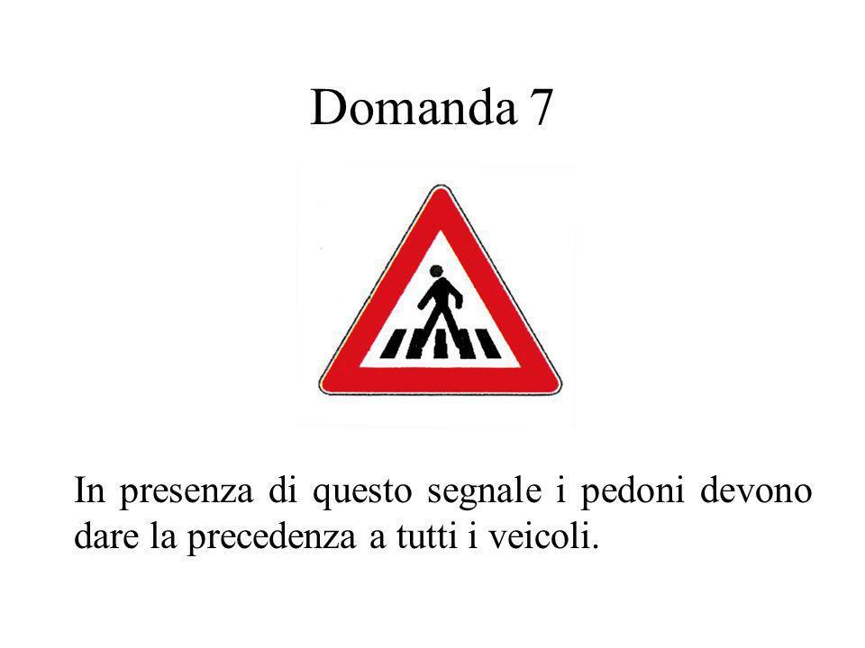Domanda 7 In presenza di questo segnale i pedoni devono dare la precedenza a tutti i veicoli.