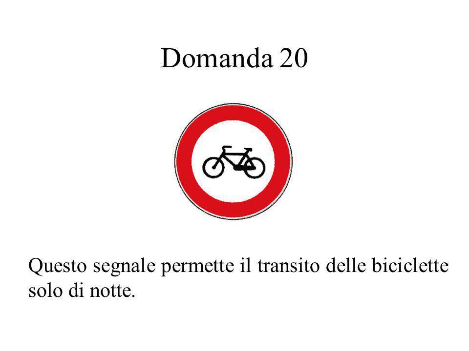 Domanda 20 Questo segnale permette il transito delle biciclette solo di notte.