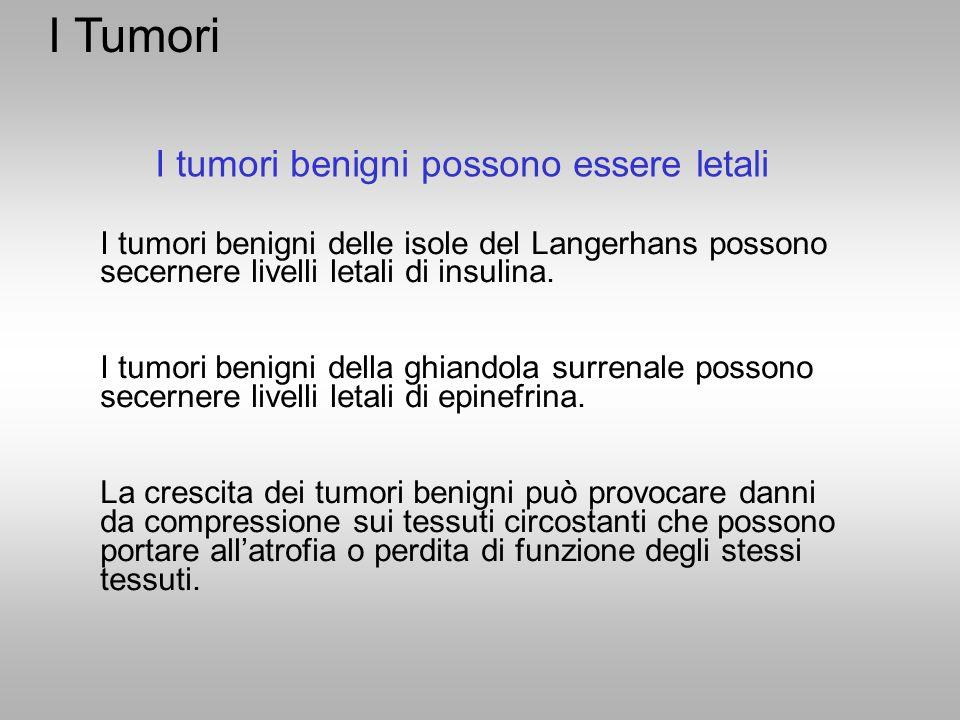I Tumori I tumori benigni possono essere letali
