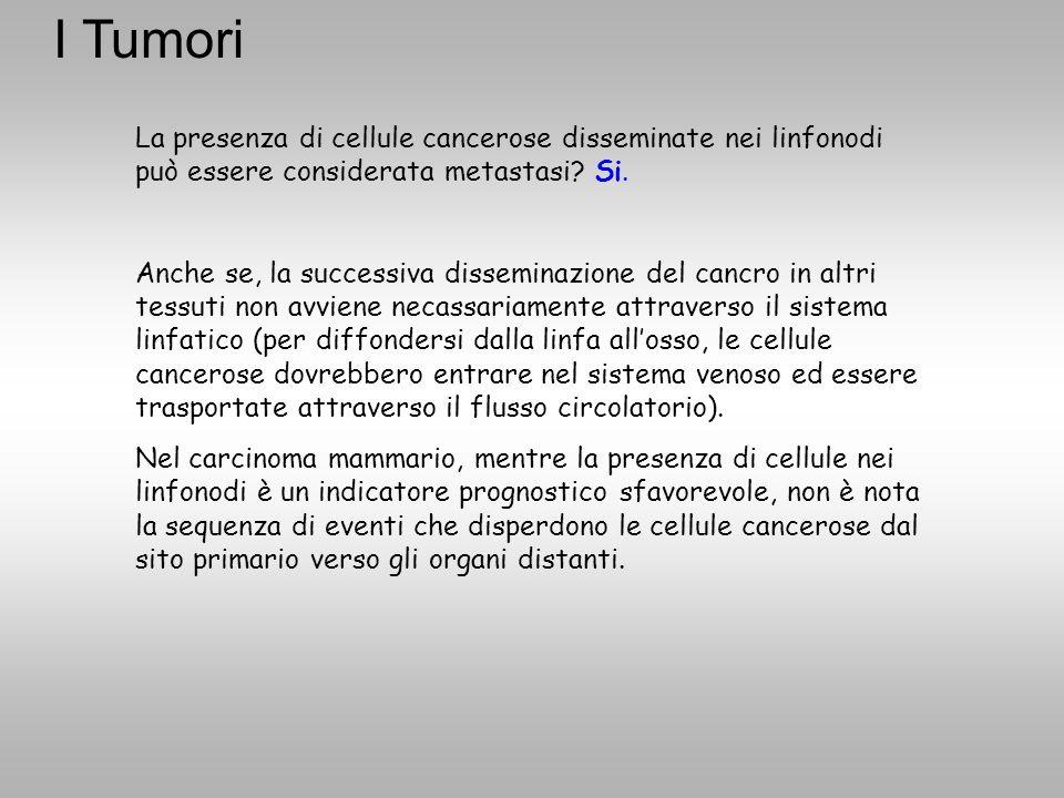 I Tumori La presenza di cellule cancerose disseminate nei linfonodi può essere considerata metastasi Si.