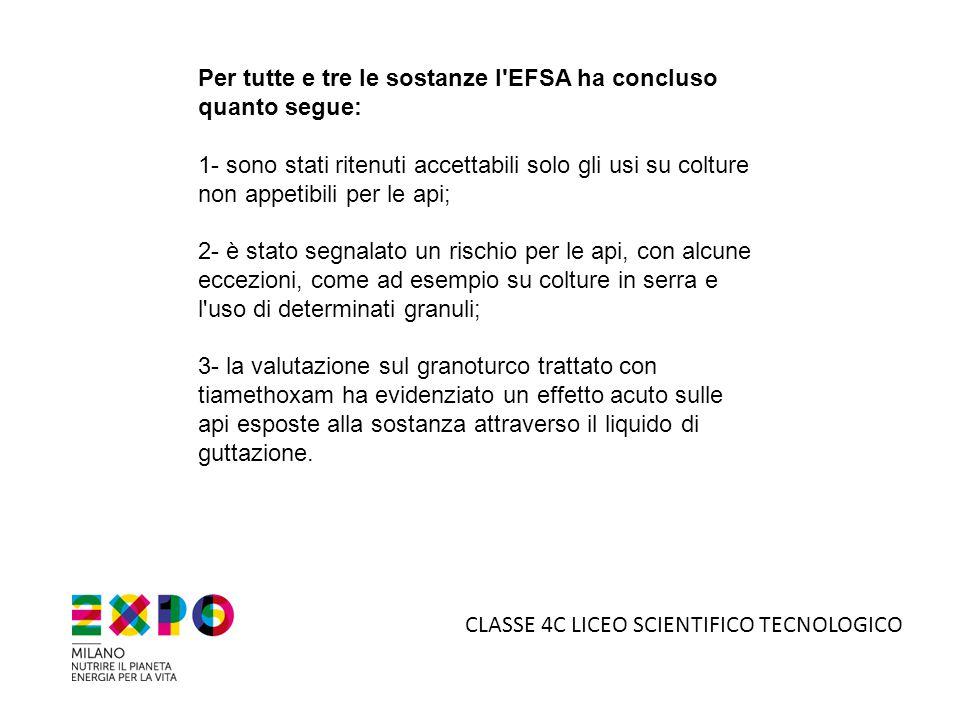 Per tutte e tre le sostanze l EFSA ha concluso quanto segue: