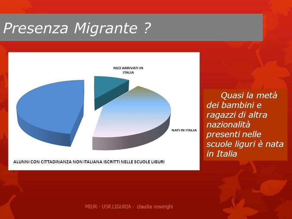 Presenza Migrante Quasi la metà dei bambini e ragazzi di altra nazionalità presenti nelle scuole liguri è nata in Italia.