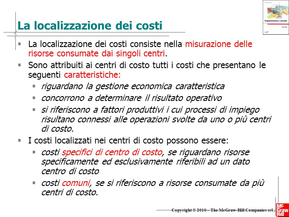 La localizzazione dei costi