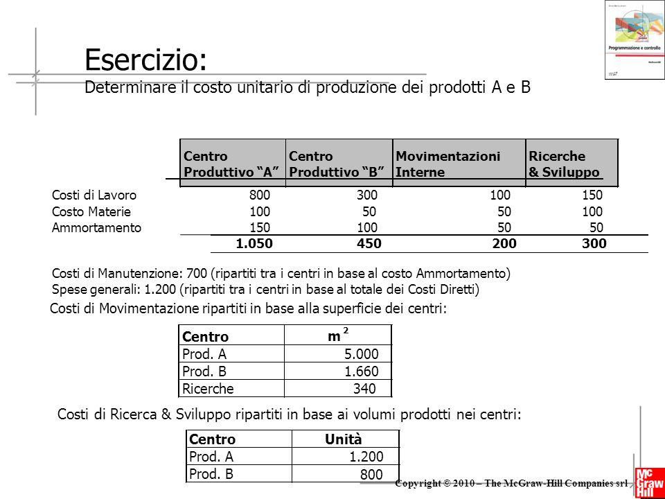 Esercizio: Determinare il costo unitario di produzione dei prodotti A e B. Centro. Centro. Movimentazioni.