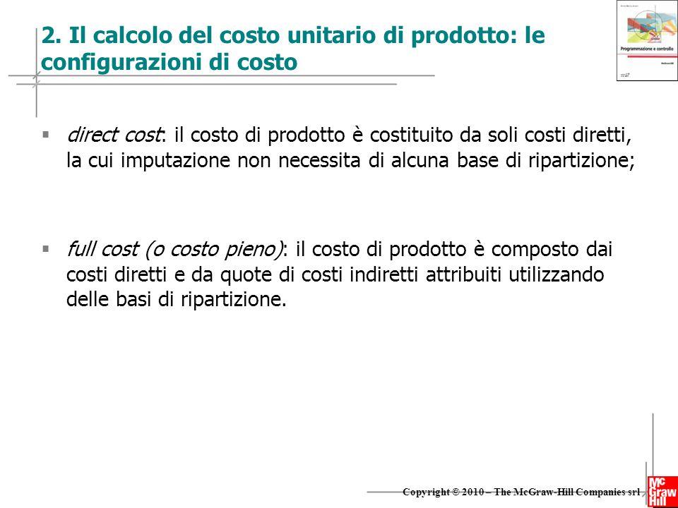 2. Il calcolo del costo unitario di prodotto: le configurazioni di costo