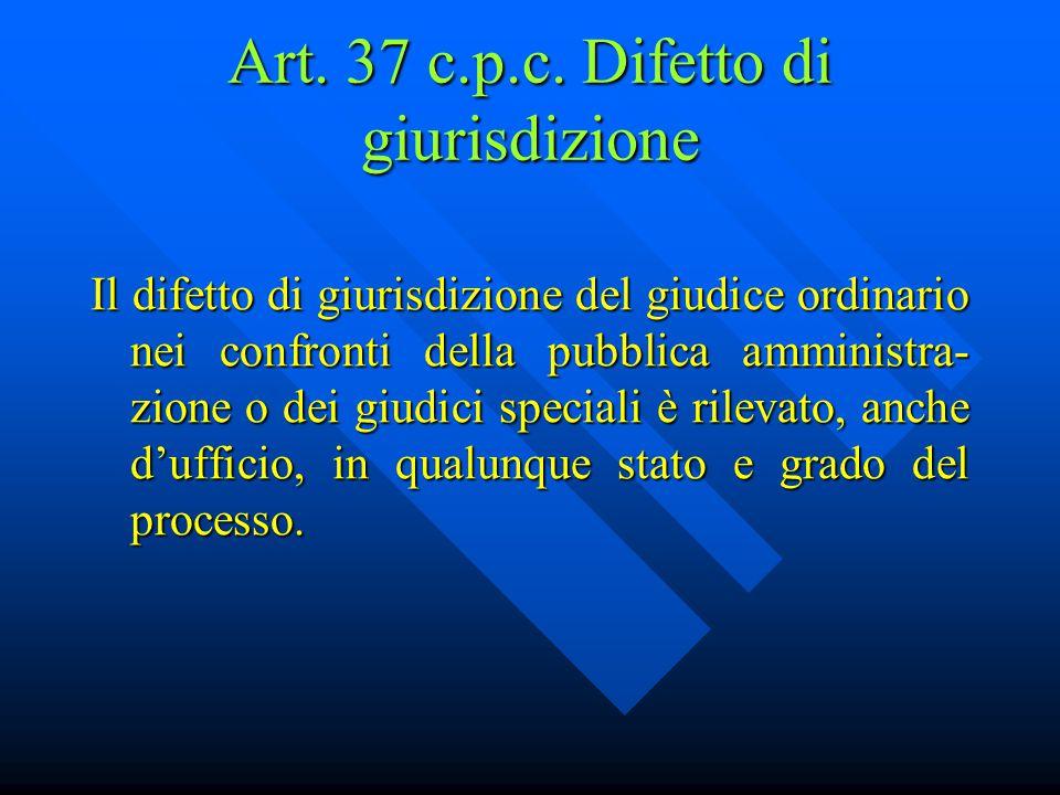 Art. 37 c.p.c. Difetto di giurisdizione
