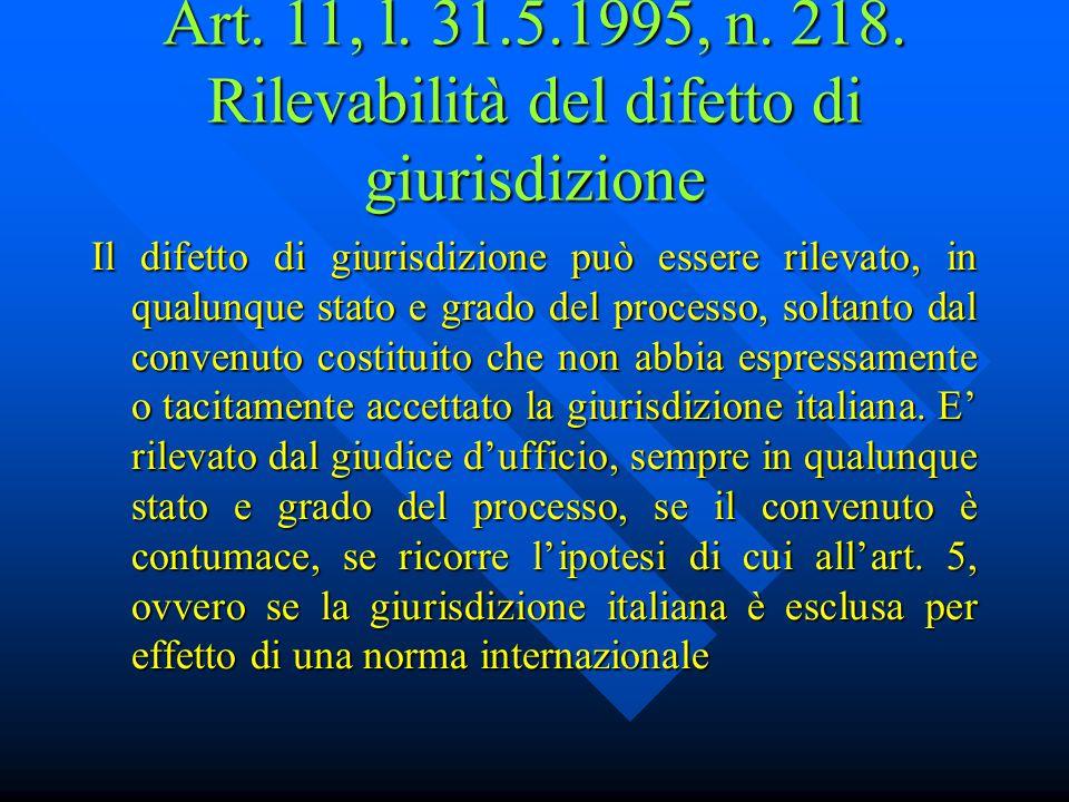 Art. 11, l. 31.5.1995, n. 218. Rilevabilità del difetto di giurisdizione