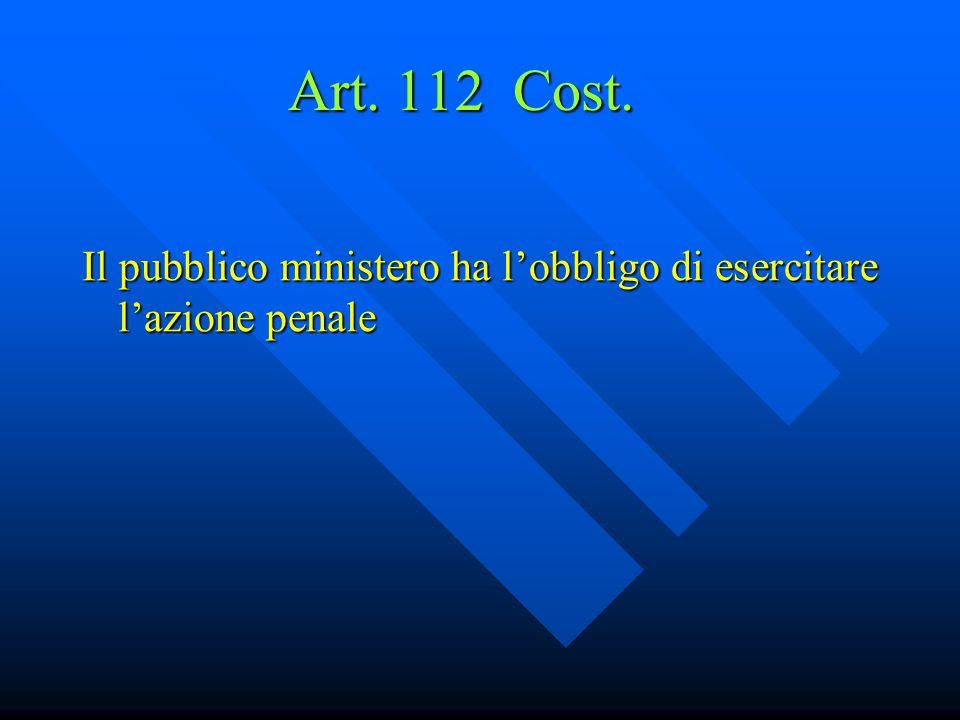 Art. 112 Cost. Il pubblico ministero ha l'obbligo di esercitare l'azione penale