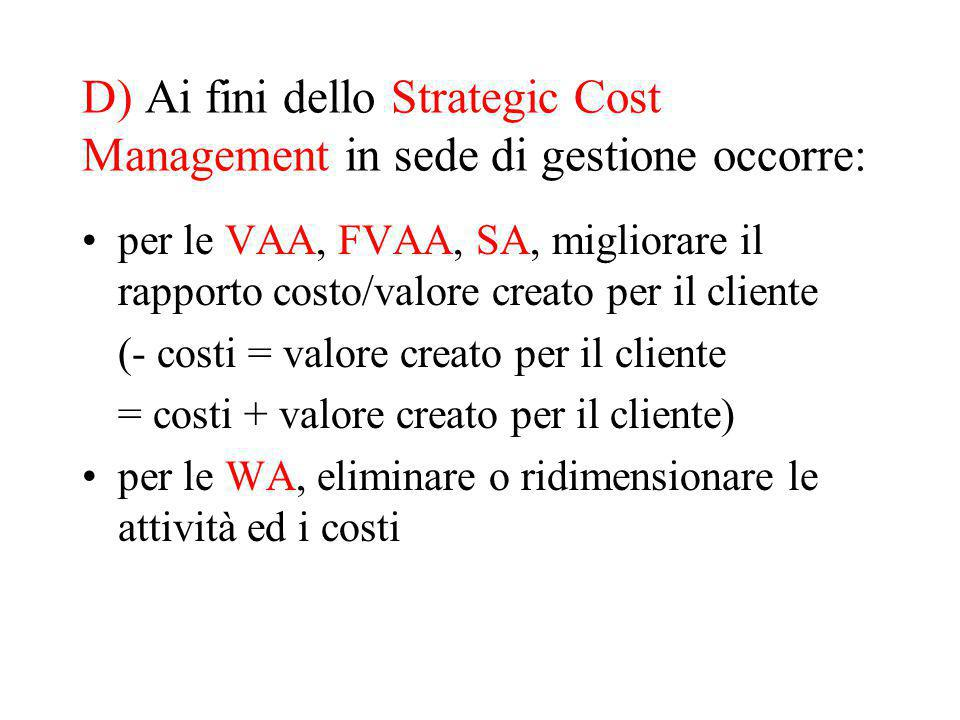 D) Ai fini dello Strategic Cost Management in sede di gestione occorre: