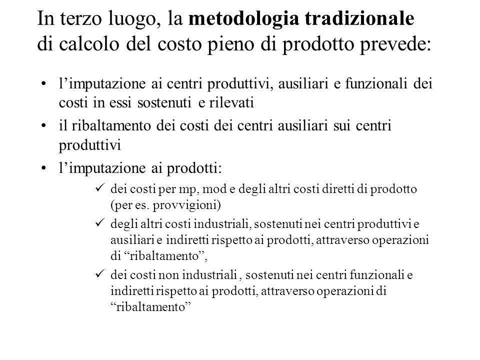 In terzo luogo, la metodologia tradizionale di calcolo del costo pieno di prodotto prevede:
