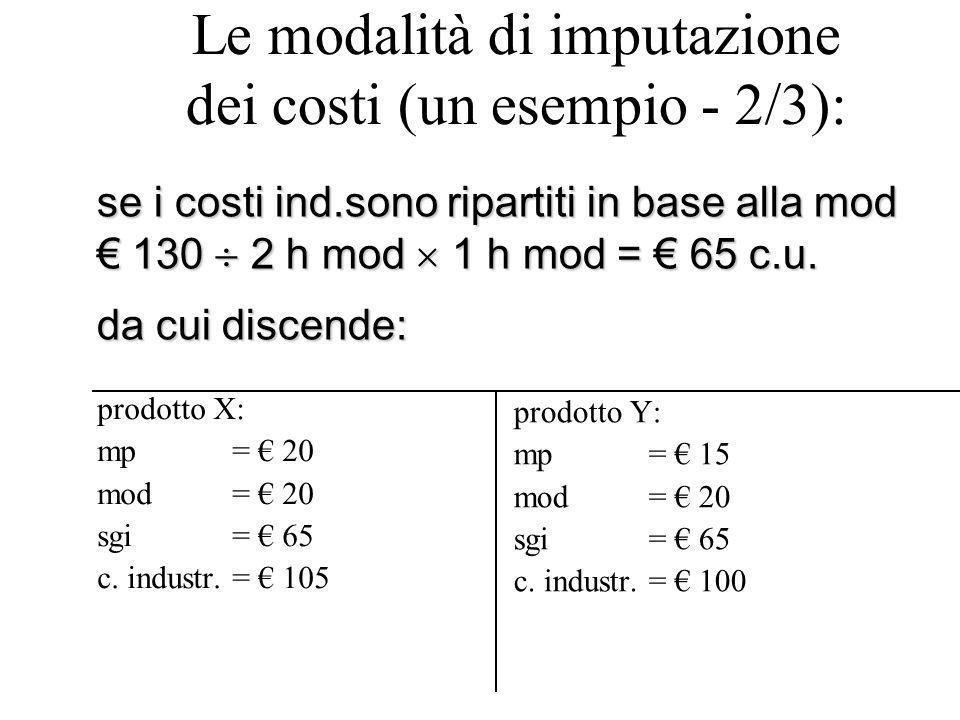 Le modalità di imputazione dei costi (un esempio - 2/3):